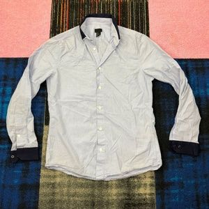 H&M Sky Blue Button Up Long Sleeve Polo Shirt